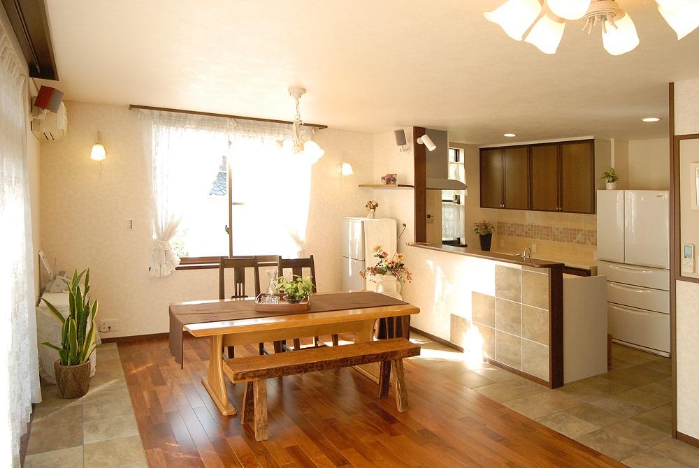 キッチンの床にタイル